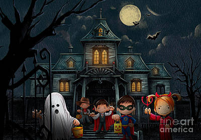 Halloween Kids Night Art Print by Bedros Awak