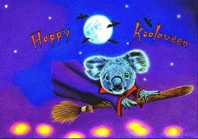 Animals Drawings - Halloween Koala, Happy Koalaween by Casey