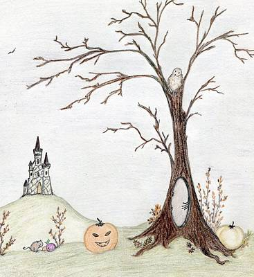 Drawing - Halloween Landscape by Christine Corretti