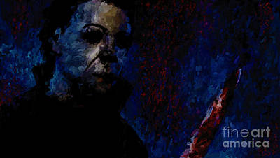 Halloween Artwork Mixed Media - Halloween Michael Myers Signed Prints Available At Laartwork.com Coupon Code Kodak by Leon Jimenez