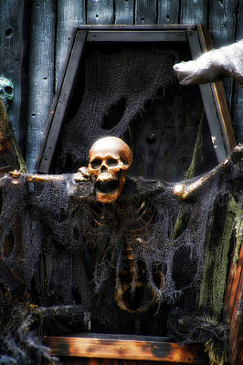 Crazy Quilt Photograph - Halloween Mr Bones Boo by Thomas Woolworth