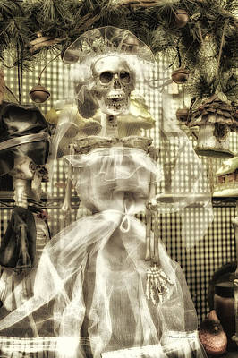 Booo Card Mixed Media - Halloween Mrs Bones The Bride Vertical by Thomas Woolworth