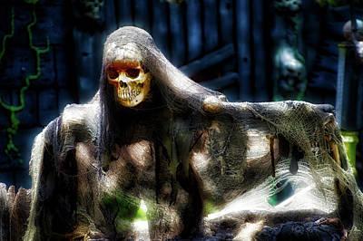 Creepy Mixed Media - Halloween Mrs Bones by Thomas Woolworth