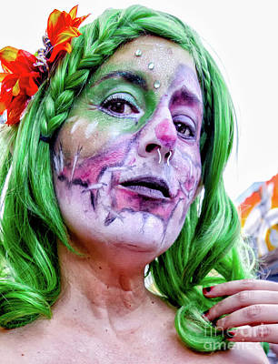 Photograph - Halloween New Orleans- Woman With The Green Hair by Kathleen K Parker
