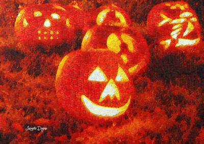 Pumpkin Painting - Halloween Night Best Friends - Pa by Leonardo Digenio