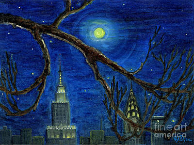 Folkartanna Painting - Halloween Night Over New York City by Anna Folkartanna Maciejewska-Dyba
