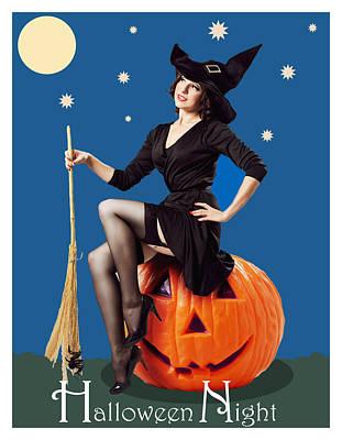 Pumpkin Art Card Mixed Media - Halloween Night Witch by Long Shot
