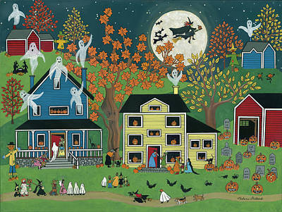 Witch Painting - Halloween On Maple Street by Medana Gabbard