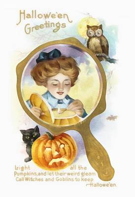 A Hand Mirror Photograph - Halloween Owl by Unknown