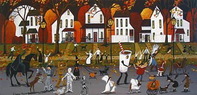 Folk Art Boxer Painting - Halloween Parade - Folk Art by Debbie Criswell