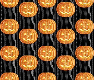 Halloween Pattern Art Print by Veronica Kusjen