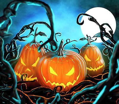 Painting - Halloween Pumpkin by Daniel Sinoca