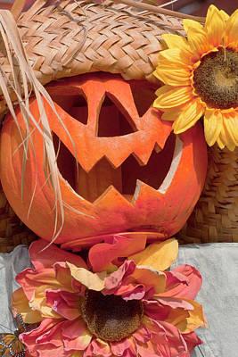Photograph - Halloween Pumpkin Head by Art Block Collections