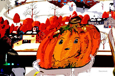 Jack-o-lantern Card Mixed Media - Halloween Pumpkin Pa 01 by Thomas Woolworth
