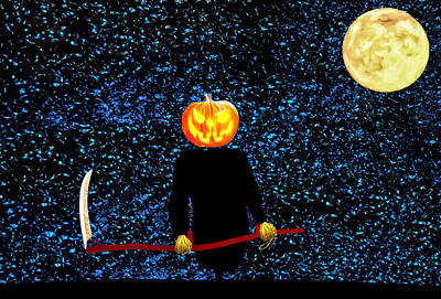 Reaper Mixed Media - Halloween Pumpkin by Tony Meaney