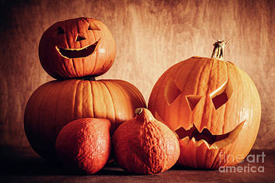 Photograph - Halloween Pumpkins, Carved Jack-o-lantern. by Michal Bednarek