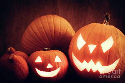 Face Photograph - Halloween Pumpkins Glowing, Jack-o-lantern by Michal Bednarek
