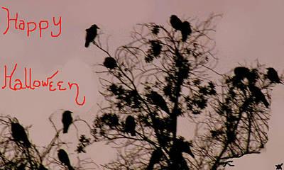 Bird On The Ground Digital Art - Halloween Ravens by Debra     Vatalaro