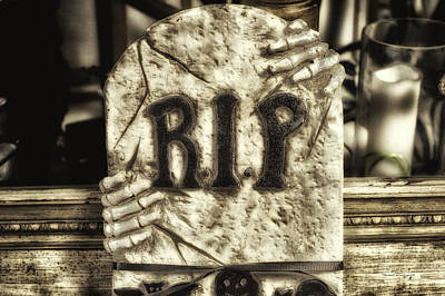 Jack-o-lantern Card Mixed Media - Halloween Rip Rest In Peace Headstone by Thomas Woolworth