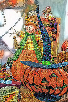 Jack-o-lantern Card Mixed Media - Halloween Scarecrow And Pumpkin Pa 02 Vertical by Thomas Woolworth