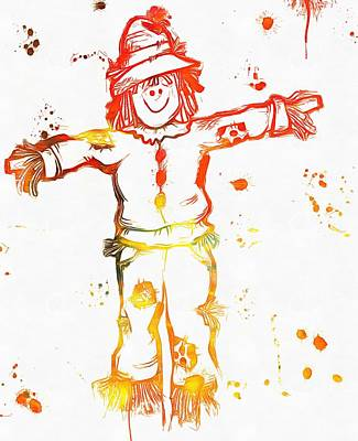 Smiling Mixed Media - Halloween Scarecrow Paint Splatter by Dan Sproul