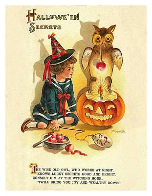 Pumpkin Art Card Mixed Media - Halloween Secrets by Long Shot