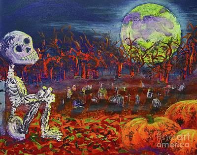 Cemetary Painting - Halloween Serenity by JA Wiese