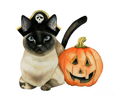 Painting - Halloween Siamese Cat With Jack O' Lantern by NamiBear