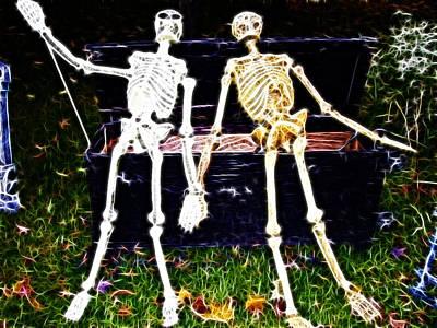 Halloween Skeleton Couple Art Print