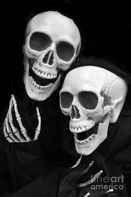 Skull Photograph - Halloween Skeletons - Black And White Halloween Skulls Skeleton Art by Kathy Fornal