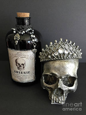 Photograph - Halloween Skull Crowned Jewels With Vintage Arsenic Bottle - Gothic Fantasy Skull Arsenic Poison  by Kathy Fornal