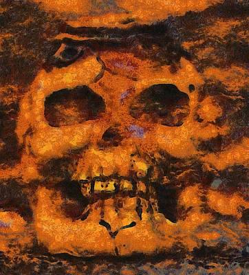 Pumpkins Painting - Halloween Skull by Sarah Kirk