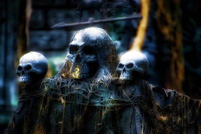 Creepy Mixed Media - Halloween Skulls 01 by Thomas Woolworth