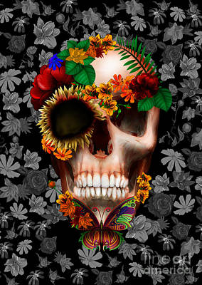 Haunted Mansion Digital Art - Halloween Sugar Skull With Butterfly by Three Second