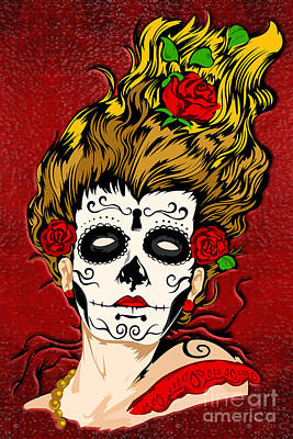 Haunted Mansion Digital Art - Halloween The Day Of The Dead Skull Face by Three Second