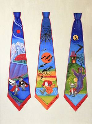 Painting - Halloween Ties by Tracy Dennison