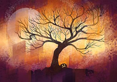 Pumpkin Digital Art - Halloween Tree by Thubakabra