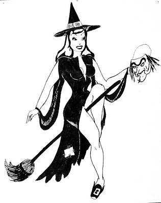 Drawing - Halloween Witch  by Beverly Solomon Design