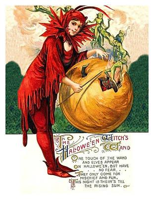 Pumpkin Art Card Mixed Media - Halloween Witch Wand by Long Shot