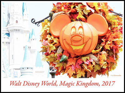 Digital Art - Halloween Wreath, Main Street Usa, Walt Disney World by A Gurmankin