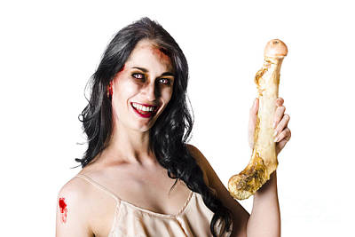 Benefit Photograph - Halloween Zombie Holding Human Bone by Jorgo Photography - Wall Art Gallery
