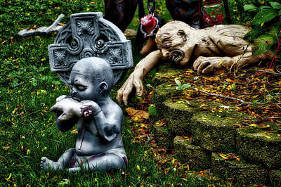 A Hand-thrown Photograph - Halloween Zombies The Day After Hungry Baby by Thomas Woolworth