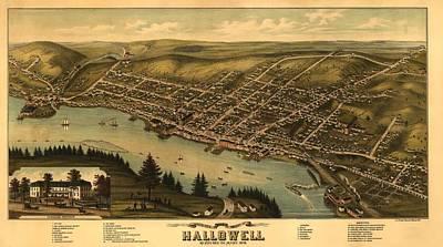 Hallowell Maine 1878 Art Print