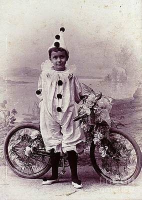 Art Print featuring the photograph Halloween Pierrot Boy With Antique Bicycle Circa 1890 by Peter Gumaer Ogden