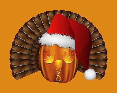 Hallowgivingmas Santa Turkey Pumpkin Art Print