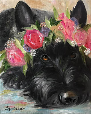 Scottish Terrier Painting - Halo by Mary Sparrow