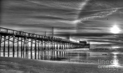 Photograph - Halo Newport Pier Reflections B W Orange County California Los Angeles Art by Reid Callaway