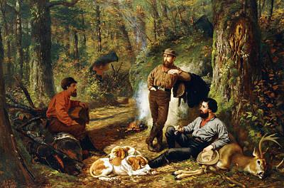 Campfire Painting - Halt On The Portage by Arthur Fitzwilliam Tait