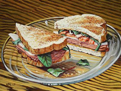 Ham And Salami Sandwich Original by Kenneth Cobb