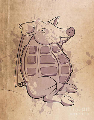 Pig Wall Art - Digital Art - Ham-grenade by Joe Dragt